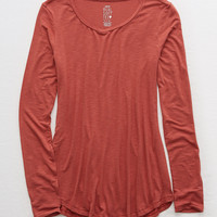 Aerie Real Soft® Long Sleeve Tee, Deep Burgundy