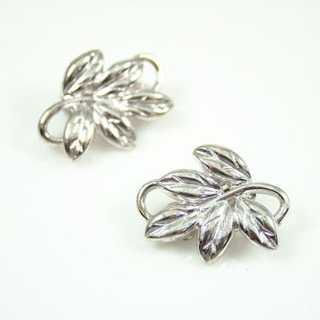 Vintage Earrings Givenchy Silver Leaf Designer Fashion Jewelry