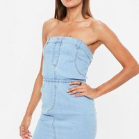 Missguided - Blue Denim Strapless Stretch Mini Dress