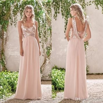 2017 New Rose Gold Bridesmaid Dresses A Line Spaghetti Backless Sequins Chiffon Wedding Party Maid of Honor Gowns B33