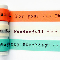 "Colte ""Happy birthday"" washi tape set (1 metre per design, 3 metres in total)"