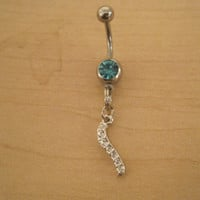 Belly Button Ring - Body Jewelry - Silver Faux Diamond Dangle with Lt. Blue Gem Stones Belly Button Ring