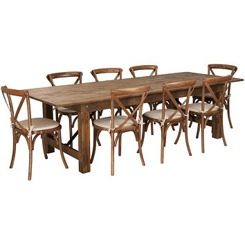 HERCULES Series 9' x 40'' Folding Farm Table Set with 8 Cross Back Chairs and Cushions