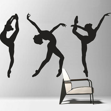Wall Decal Vinyl Sticker Decals Art Decor Design silhouette Ballerina Gymnastics Ballet Dancer Girls Kids Bedroom Nursery Beautiful (r768)