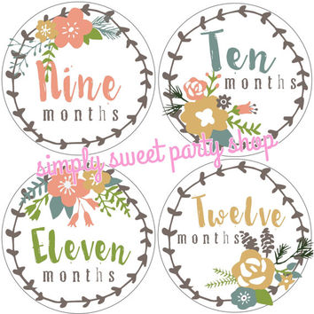 rustic baby month milestone stickers, rustic flower wreath month stickers, coral baby month stickers, coral and green, set of 12 stickers
