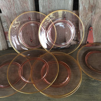7 pink depression glass salad dessert plates with gold edging, Art Nouveau Style pink glass dessert plates, pink depression dessert plates