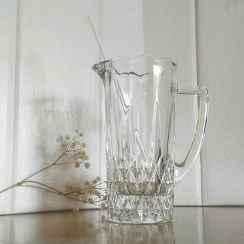 Vintage Waterford Martini Pitcher, Martini Glass Pitcher, Glass Pitcher, Vintage Glass Pitcher, Depression Glass, Pressed Star Glass