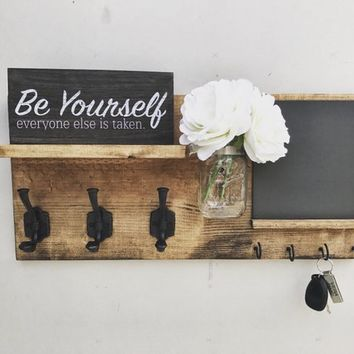 Entryway Organizer with Blackboard (FLOWERS INCLUDED), Coat Holder, Mason Jar Decor, Farmhouse Decor
