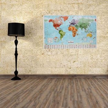 98 X 68cm World Map Waterproof Big Large Map of The World Poster with Country Flags