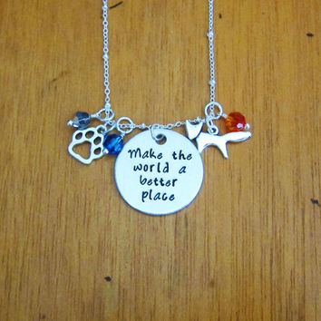 """Zoo Necklace. """"Make the world a better place"""". Inspirational necklace. Animal paw print, fox. Swarovski elements crystals. Hand Stamped."""