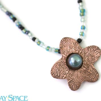 Flower Pendant Necklace. Teal Pearl Necklace. Pearl and Crystal Necklace. Copper Stamped Jewelry. Statement Choker Necklace. Boho Necklace.