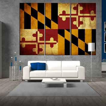 maryland state flag canvas Print wall art, flag of maryland state wall art, large flag wall art print giclee extra large wall art t336