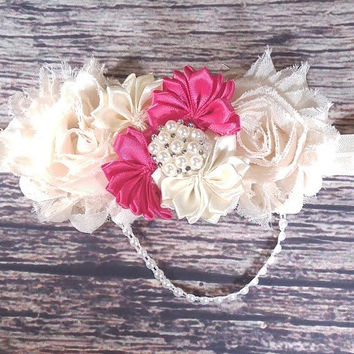 Fancy Vintage Inspired Cream and Dark Pink Satin Shabby and Pearls Baby Girl Headband!