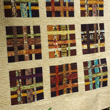 Large Modern Handmade Wall Hanging Quilt - Between The Lines Asian Inspired Wall Hanging