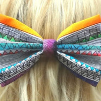 Aztec bow hair clip - big bow - bow barrette - tribal - boho