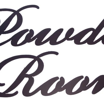 Powder Room Word Sign 2-Piece Metal Wall Art