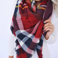 Blanket Scarf- Red/Yellow