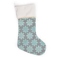"Anchobee ""Blue Christmas"" Blue Gray Christmas Stocking"