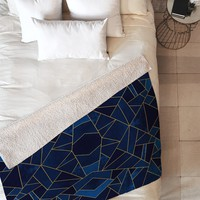 Elisabeth Fredriksson Blue Mosaic Sun Fleece Throw Blanket