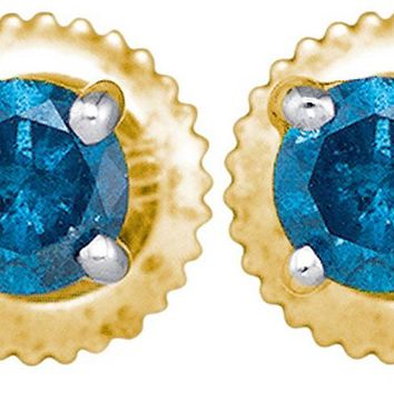 10kt Yellow Gold Womens Round Blue Colored Diamond Solitaire Stud Earrings 1.00 Cttw
