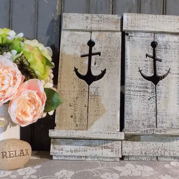 TWO Nautical Anchor Pallet Wall Sconce - Beach House Decor
