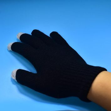 FGHGF Winter Men Safety Gloves Cashmere Gloves Casual Touch Screen Warm Knitted Mittens Solid Driving Working Gloves Free Size