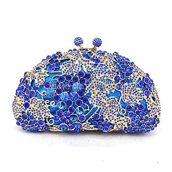 Metal Clutch Bag Grape Vine blue Crystal Evening Bags Hollow Out Rhinestones Handbags Wedding Clutches Purse Women Purses 88173C