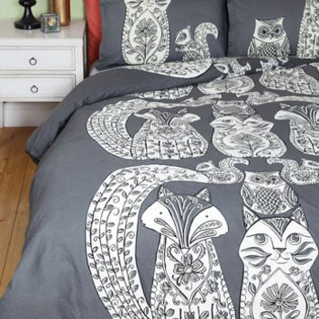 Critters Tails Before Bedtime Duvet Cover in Full, Queen by ModCloth