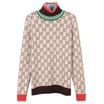 Gucci Fashion Women Leisure Letter Print High Collar Long Sleeve Pullover Top Sweater Sweatshirt Khaki
