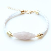 SPRING SALE - 20% OFF! White Silk cord Bracelet with Grey bead - 24k gold plated