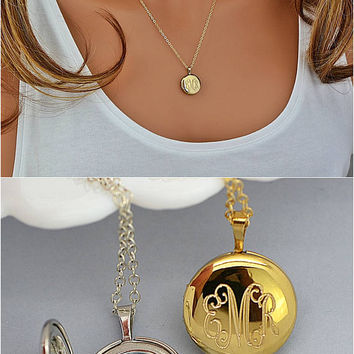 Engraved Locket Necklace, Locket Necklace, Silver Locket, Locket with Birthstone, Personalized Locket Necklace Gold or Silver