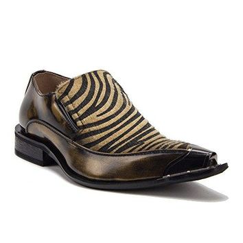 New Men's 15818 Leather Lined Pony Hair Metal Tip Loafer Shoes