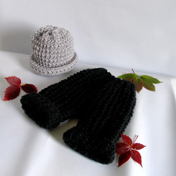 Newborn baby girl or boy hand knitted pants and Elf hat with knot set for Photography Props Dark Grey, Red