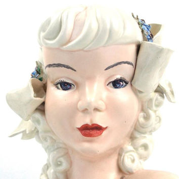 vintage 60s 70s ceramic bust woman female head statue figure girl lady mid century modern retro decorative home decor blonde curly bangs old