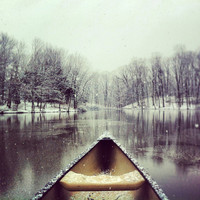 Winter Canoe. (framed print)
