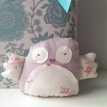 Albus, Stuffed Pink Owl Made from Laura Ashley Fabrics. Animal Woodland Toy.Baby Girl. Spring Kids Bedroom Decor. (code: STOWLG02 )