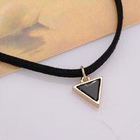 Rope Choker Necklace Short Black Velvet Leather Necklaces With Triangle Faux Stone From India Party Gift
