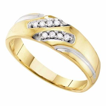 10kt Yellow Gold Men's Round Diamond Two-tone Wedding Band Ring 1/8 Cttw - FREE Shipping (US/CAN)