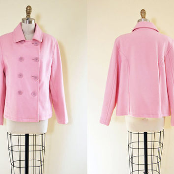 1960s Pink Pea Coat - Vintage 60s Pink Wool Princess Peacoat w Western Arrow Pockets M L - Powderpuff Coat