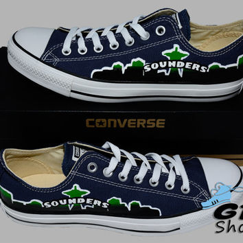 Hand Painted Converse Low Sneakers. Seattle Sounders FC. Soccer. Handpainted shoes.