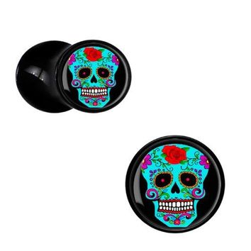 BodyJ4You Plugs Black Acrylic Blue Sugar Skull Double Flare Acrylic Saddle Plugs 6G-14mm (2 Pieces)