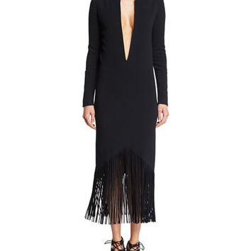TOM FORD Plunging Long-Sleeve Fringed Cady Dress, Black