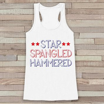 Star Spangled Hammered Tank Top - Women's 4th of July Tank - White Flowy Top - Funny Fourth of July Shirt - American Pride Top - 4th of July