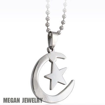 I47Muslim Islamic Allah Persian Crescent Moon Star Amulet Pendant Necklace Men Girl