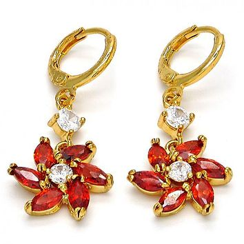 Gold Layered 02.210.0011 Long Earring, Flower Design, with Garnet and White Cubic Zirconia, Polished Finish, Golden Tone