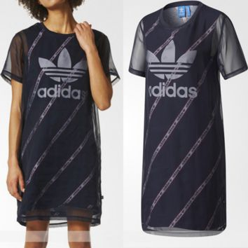 adidas Originals Black Midi Dress With Sheer Mesh Overlay Mid long Dress