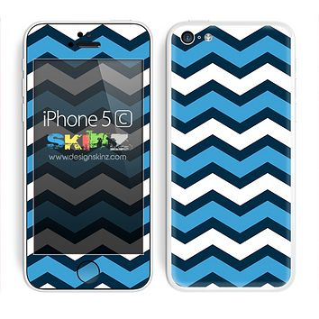 Wide Blues Chevron Pattern V3 Skin For The iPhone 5c
