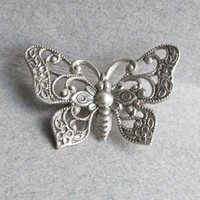 Delicate Signed BEAU Sterling Silver Vintage Butterfly Pin