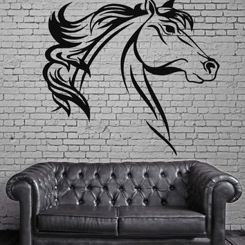 Horse Head Mustang Bronco Animal Kids Decor Wall MURAL Vinyl Art Sticker Unique Gift z773