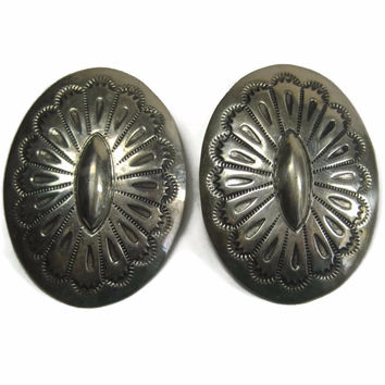 Native American Stamped Concho Earrings Large Vintage Navajo Arthur Platero